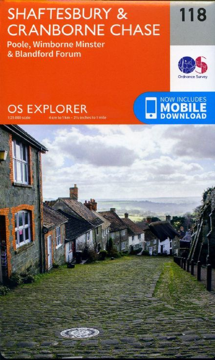 OS Explorer 118 - Shaftsbury & Cranbourne Chase, Poole, Wimbourne Monster & Blandford Forum